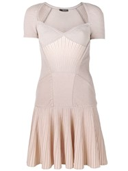 Alexander Mcqueen Mini Knit Dress Women Polyamide Spandex Elastane Viscose Metallic Fibre S Nude Neutrals