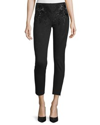 Haute Hippie Embellished Cropped Skinny Pants Black