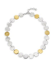 Gurhan Sterling Silver Disc Necklace 16In Silver Gold