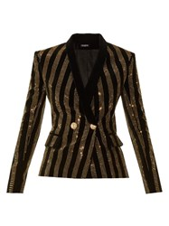 Balmain Striped Embellished Velvet Blazer Black Multi