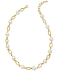 Charter Club Gold Tone Imitation Pearl And Pave Crystal Necklace Only At Macy's