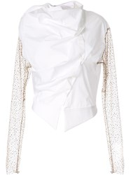 Aganovich Draped Asymmetric Shirt White