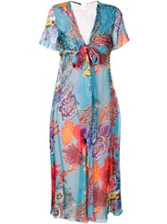 Paul Smith Floral Print Scarf Neck Dress Multicolour