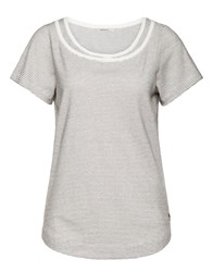 Sandwich Double Neckline Stripe T Shirt Grey