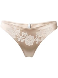 Carine Gilson Lacy Classic Thong Nude Neutrals