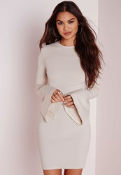 Missguided Glitter Lurex Bell Sleeve Bodycon Gold Gold