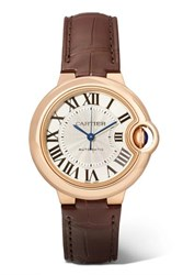 Cartier Ballon Bleu De 33Mm 18 Karat Pink Gold And Alligator Watch Rose Gold