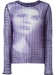 Jean Paul Gaultier Vintage Printed Sheer Top Pink And Purple