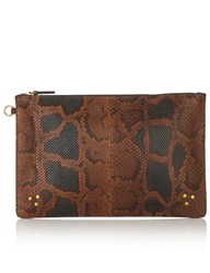 Jerome Dreyfuss Brown Python Popochel Clutch