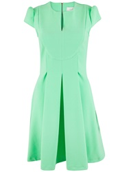 Almari Split Neck Box Pleat Dress Lime
