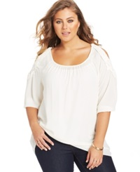 Ing Plus Size Crocheted Cold Shoulder Top Ivory