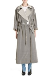 Simon Miller 'S Casco Stretch Pinstripe Trench Coat