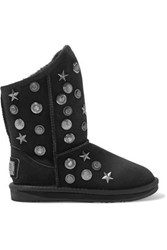 Australia Luxe Collective Angel Short Embellished Shearling Ankle Boots Black