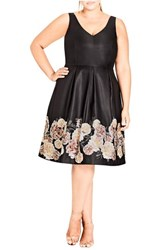 City Chic Plus Size Women's Magical Floral Satin Fit And Flare Dress Border Print