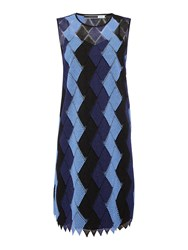 Sportmax Code Ticino Sleeveless Mesh Zig Zag Dress Light Blue