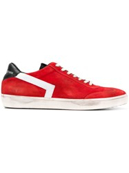 Leather Crown Lace Up Sneakers Red