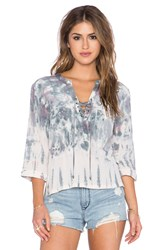 Gypsy 05 Lace Up Blouse Gray