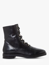 Bertie Peplume Leather Ranger Ankle Boots Black