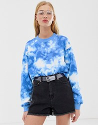 Monki Sweatshirt In Blue Tie Dye