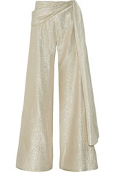 Oscar De La Renta Silk Blend Lame Wide Leg Pants Gold