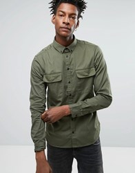 Casual Friday Military Shirt In Regular Fit Sprout Green