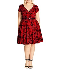 City Chic Rose Beauty Dress Red Scarlet