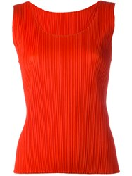 Issey Miyake Pleats Please By Pleated Tank Red
