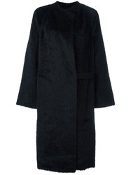 Helmut Lang 'Shaggy' Long Coat Black