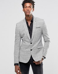 Asos Super Skinny Blazer In Monochrome Check Black White Multi
