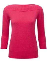 Pure Collection Helena Boat Neck Cashmere Jumper Sweet Pink