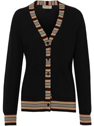 Burberry Icon Stripe Cardigan Black