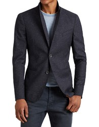 John Varvatos Speckled Two Button Wool And Silk Blend Jacket Navy