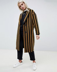 Moss Copenhagen Tailored Coat In Contrast Stripe Bronze Brown With Bl