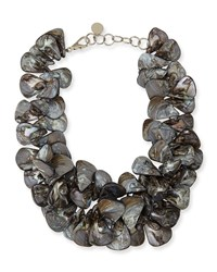 Gray Mother Of Pearl Cluster Necklace Nest Jewelry