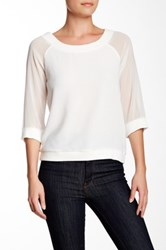 Vertigo 3 4 Sleeve Boatneck Crepe Mixed Media Pullover With Chiffon Sleeves