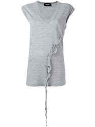 Dsquared2 Asymmetric Twisted T Shirt Grey