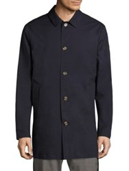 Eleventy Solid Single Breasted Trench Coat Navy