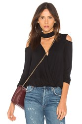 Krisa Cold Shoulder Surplice Top Black