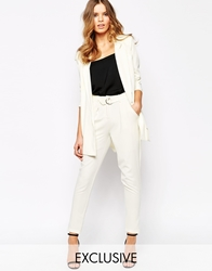Goldie Denver Tapered Trouser With Belt Cream