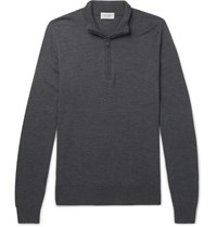 John Smedley Slim Fit Merino Wool Half Zip Sweater Charcoal
