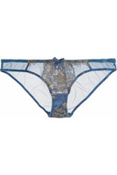 Agent Provocateur L'agent By Iana Metallic Lace Paneled Tulle Briefs Sky Blue