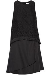 Derek Lam 10 Crosby By Wrap Effect Layered Cotton Blend Lace And Cotton Poplin Mini Dress Black