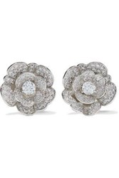Cz By Kenneth Jay Lane Woman Rhodium Plated Crystal Clip Earrings Silver