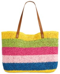 Inc International Concepts I.N.C Jordyy Pop Stripe Extra Large Beach Tote Created For Macy's Pink Multi