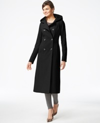 Anne Klein Double Breasted Hooded Maxi Coat Charcoal