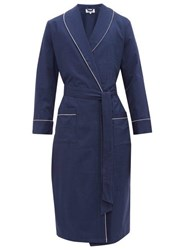 P. Le Moult Piped Cotton Herringbone Robe Navy
