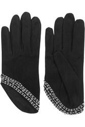 Alexander Mcqueen Embellished Suede Gloves Black