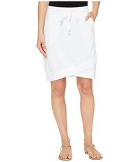 Mod O Doc Cotton Modal Spandex French Terry Crossover Hem Pull On Skirt White Women's Skirt