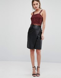 New Look Leather Wrap Front Midi Skirt Black
