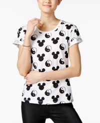 Mighty Fine Juniors' Ying Yang Mickey Graphic T Shirt White Black